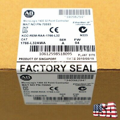 New Allen-bradley Micrologix 1400 32 Point Controller Mat No 1766-l32awa