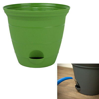 Green Plastic Self Watering Flower Plant Pot Garden Potted Planter 6, 8, 10, 12