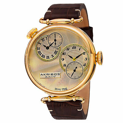 New Men's Akribos XXIV AK796YG Large Quartz Dual Time Brown Leather Strap Watch