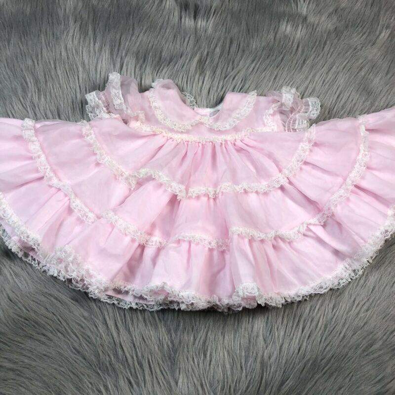 Vintage Baby Girls Pink Sheer Lace Ruffle Frilly Dress