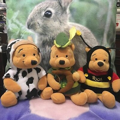"DISNEY STORE - Winnie The Pooh ""Bumble Bee"" 1998 Plush Beanie Toy - 8"""