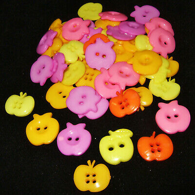 50pcs Mixed large APPLE buttons - 21mm-23mm assorted acrylic sewing and crafts