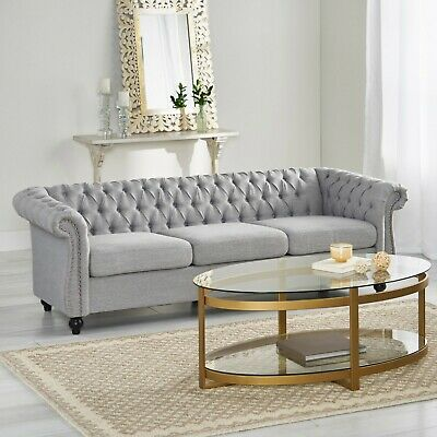 Adetokunbo Tufted Chesterfield 3 Seater Sofa 1