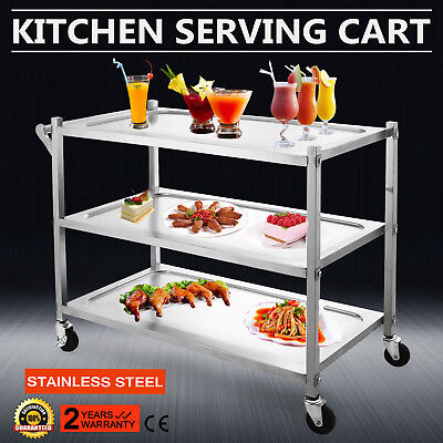 STAINLESS STEEL CART W/ ONE HANDLE 3 SHELF  RESTAURANT BUS UP-TO-DATE STYLING