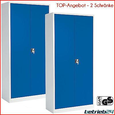 Stahlschrank 2er-Set | Universalschrank | Materialschrank  lichtgrau /enzianblau