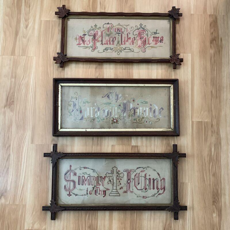 Antique Framed Needlework Sampler - Floral Punched Paper Lot - The Lord Religion