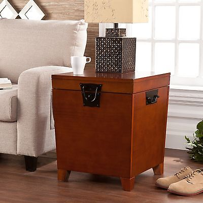 - Hope Chest Storage Trunk Oak Wood Accent End Table Small Box For Quilts Blanket