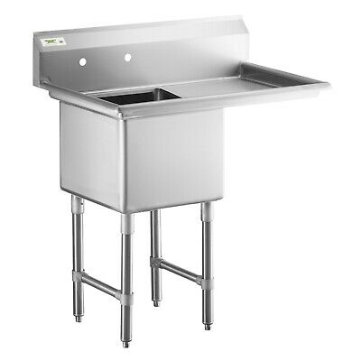 1 Compartment Stainless Steel Commercial Nsf Prep Sink With Right Drainboard