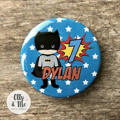 Personalised ANY Name/Age Cute Superhero/Marvel Birthday Badge Party - Cute Superhero Names