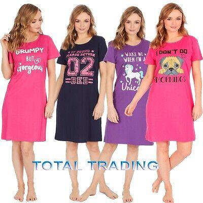 Ladies Short Sleeve Night Shirt Nightdress womens Nightie Nightshirts PJ PYJAMAs