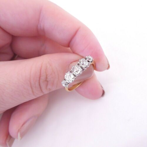 18ct gold platinum 1.30ct old cut diamond 5 stone ring, Victorian