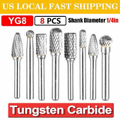 8x 14 Double Cut Tungsten Steel Carbide Rotary Burr Die Grinder Shank Bit Set