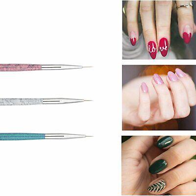 3PCS Nail Art Pen Dotting Painting Drawing UV Gel Liner Polish Brush Tool Set Health & Beauty