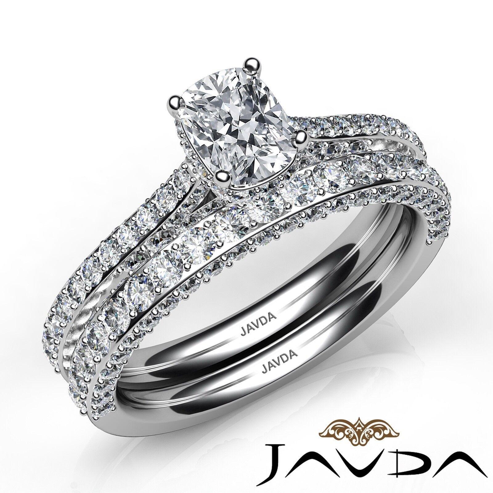 2.85ctw Pave Circa Halo Bridal Cushion Diamond Engagement Ring GIA F-VS1 W Gold 1
