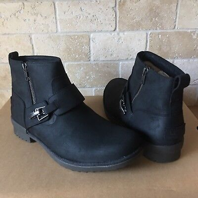 UGG CHEYNE BLACK LEATHER WATERPROOF DUCK ANKLE BOOTS SIZE US 10 WOMENS, used for sale  Oxnard
