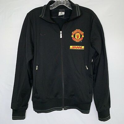 1a3df5c060a8 Men s Nike Manchester United DHL Track Jacket Coat Football Soccer Black  Size S
