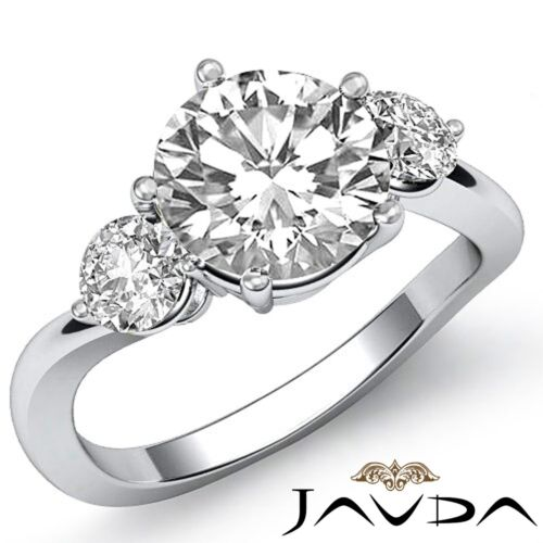Round Natural Diamond Engagement GIA F SI1 Platinum 3 Three Stone Ring 1.5ct 1