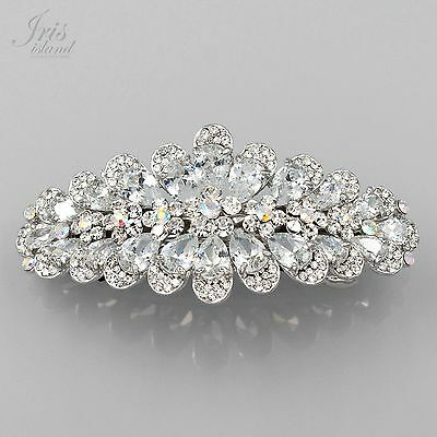Rhodium Plated Clear CZ Rhinestone Crystal Alloy Barrette Hair Clip pin 3569 New