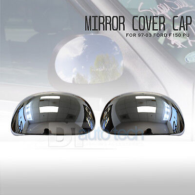 For 97-03 Ford F150 F-150 Pickup Chrome Mirror Cover Cap LH+RH Pair 03 Ford F150 Pickup Mirror