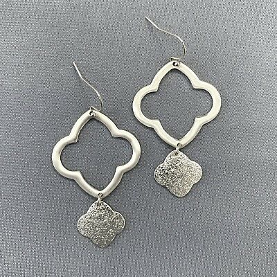 Bohemian Silver Hammered Charm Decor Clover Shaped Drop Dangle Hook Earring - Hammered Silver Charm