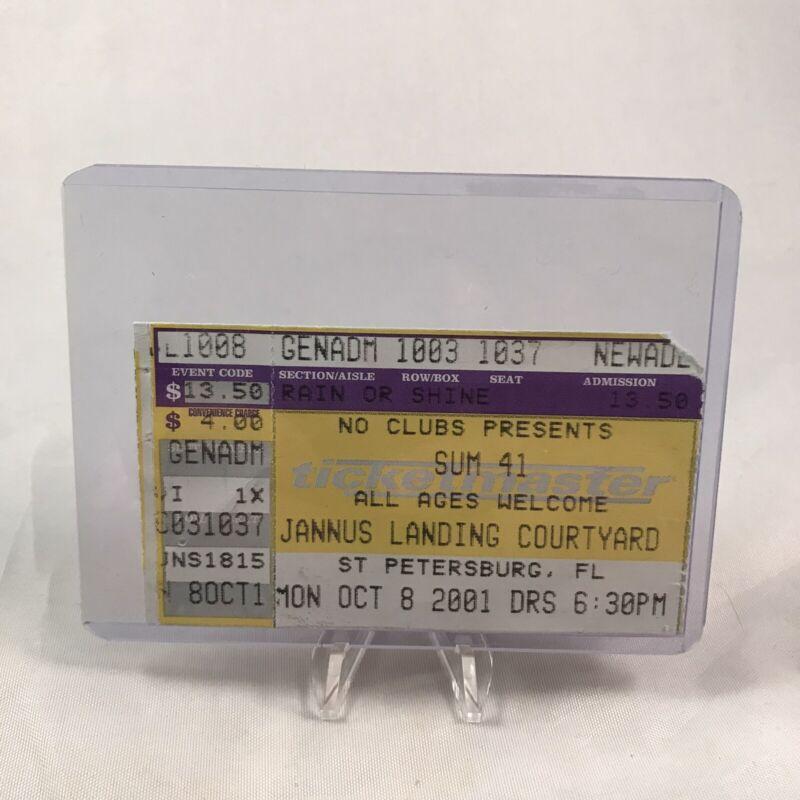 Sum 41 Jannus Landing Courtyard Florida Concert Ticket Stub October 8 2001