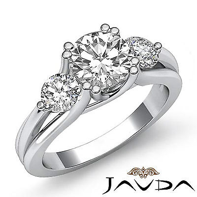 3 Stone Trellis Style Round Diamond Engagement Anniversary Ring GIA G SI1 1.5 Ct