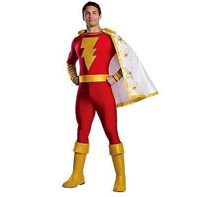 Funny Superhero Costume (Adult Mens DC Comics Shazam Superhero Halloween Costume Jumpsuit Cape)