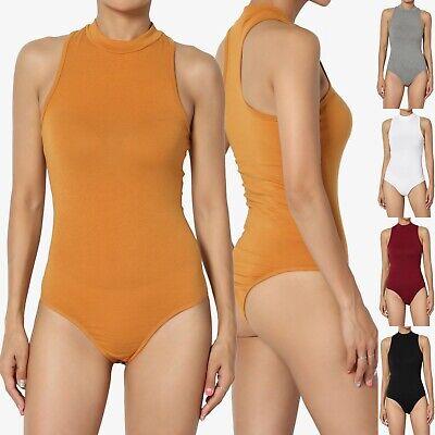 TheMogan Sleeveless Cotton/Span Mock Neck Thong Panty Bodysuit Leotard One-Piece Mock Neck Leotard