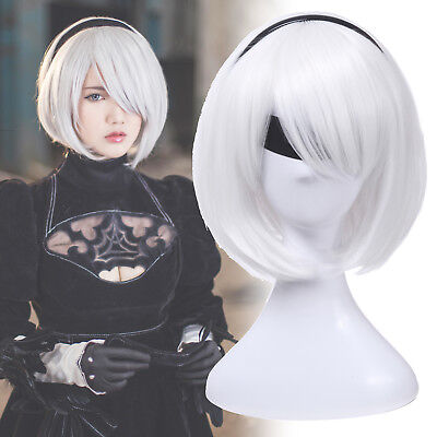 NieR Automata 2B YoRHa No. 2 White Short Straight Cosplay Wig Women Bob Hair - White Short Wig
