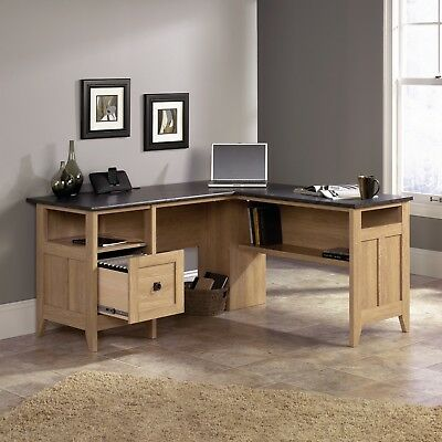 Office Desk L Shaped Corner Computer Desks With Storage Wood Modern Sturdy
