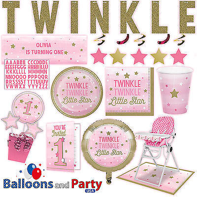 Twinkle Little Star Girls 1st Birthday Party Supplies Tableware Decorations kit  - Little Girls Birthday Party