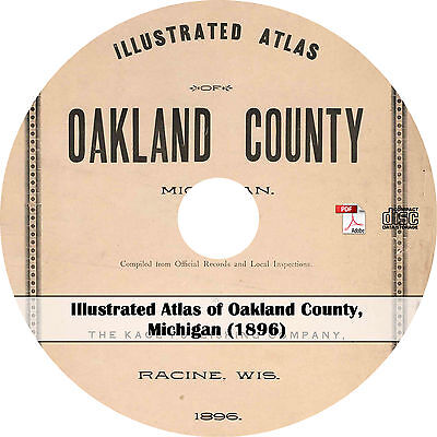 1896 Atlas of Oakland County, Michigan - MI History Genealogy Maps Book on CD
