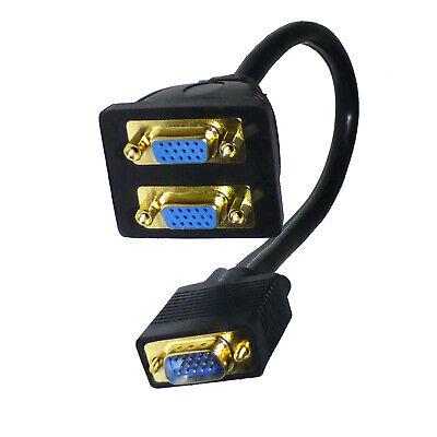 Monitor Y Dual Splitter Lead SVGA VGA Cable - SENT TODAY