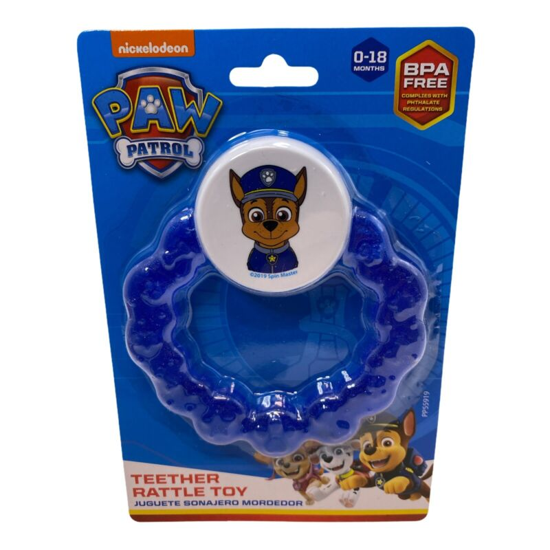 Paw Patrol Teether Rattle Toy -Blue Chase 0-18 Months BPA Free Nickoldeon