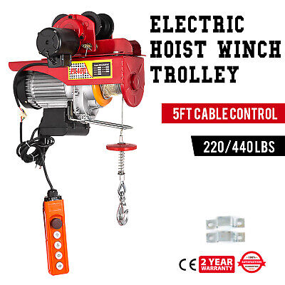Electric Wire Rope Hoist With Trolley 220lb440lb Industrial Copper Brand New