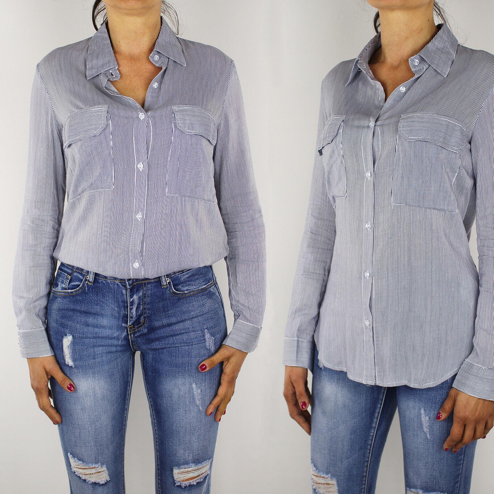 Camicia Donna Cotone Righe Slim Fit Manica Lunga Aderente Camicetta Casual VEQUE