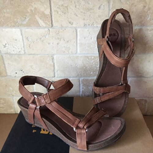 TEVA YSIDRO UNIVERSAL CORK WEDGE BROWN LEATHER STRAPPY SANDA