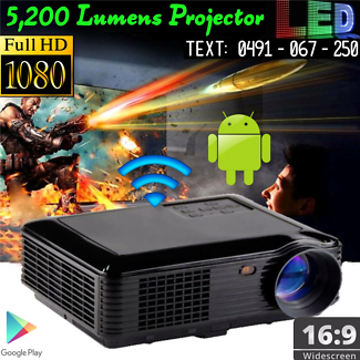 100% BRAND NEW Projector 5200 Lumens Android OS