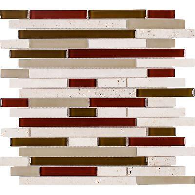 Classic Linear Beige Red White Glass Stone Mosaic Tile Backsplash Wall MTO0266
