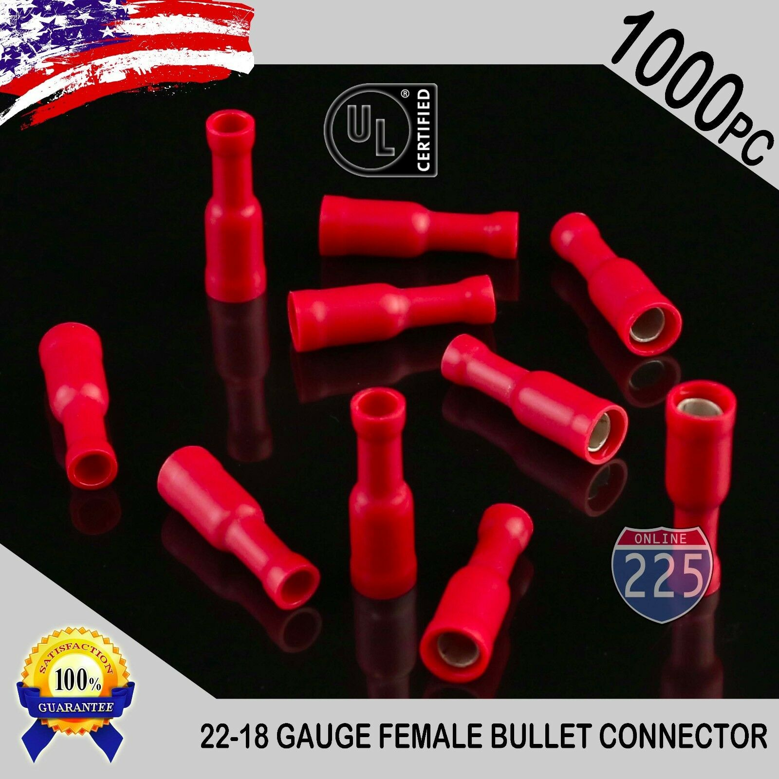 1000 Pack 22-18 Gauge Red Female Bullet Connectors Fully ...