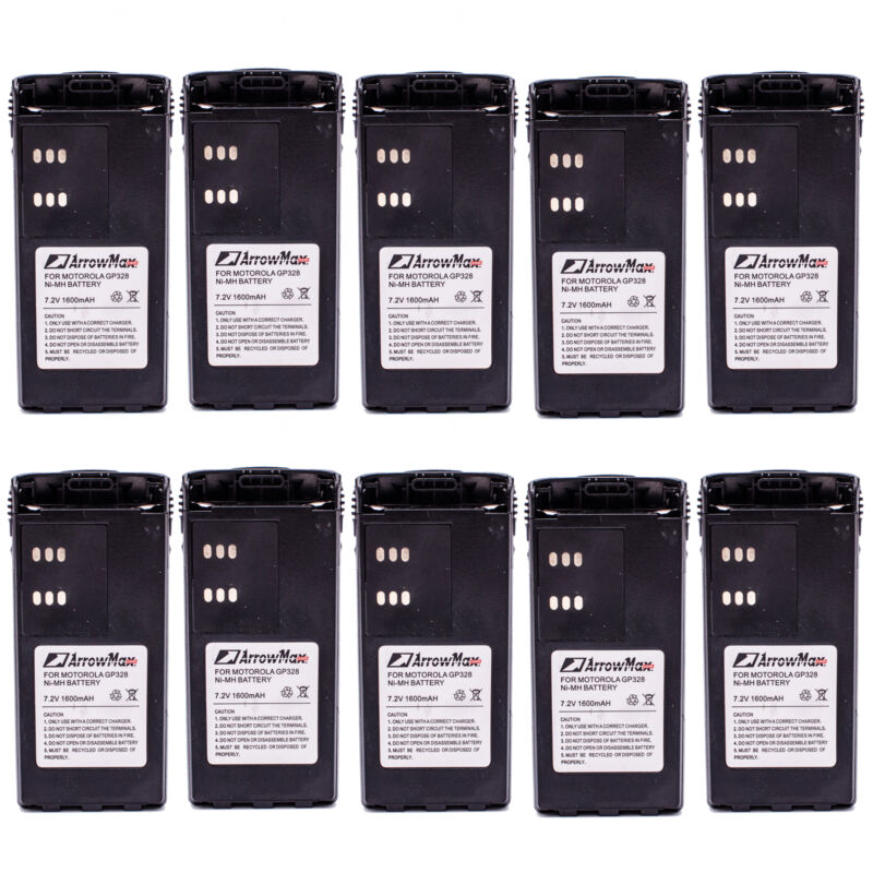 10 pcs Battery for MOTOROLA HNN9013 HNN9011 HNN9010 GP338 GP328 GP320 HT1250