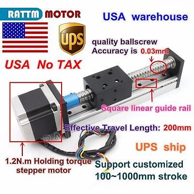 Us Ball Screw Cnc Linear Slide Stroke 1605 200mm Stage Actuator Stepper Motor