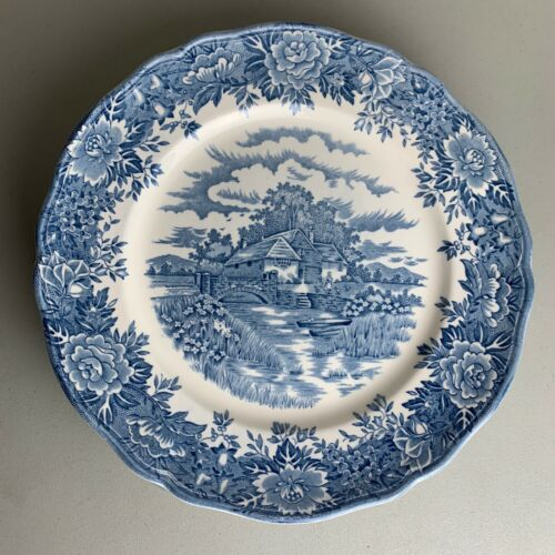 Lot of 5 Dinner Plates VTG Olde Staffordshire English Village Salem China Blue