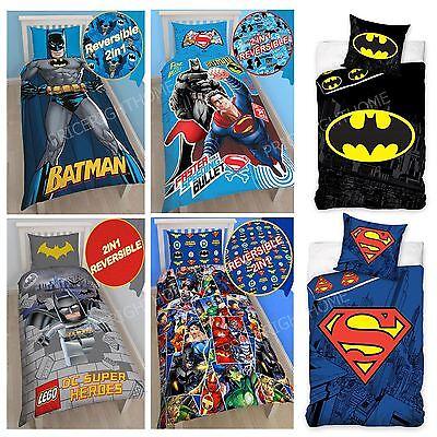 DC COMICS BATMAN & SUPERMAN DUVET COVER SET BEDDING KIDS BOYS - SINGLE & DOUBLE