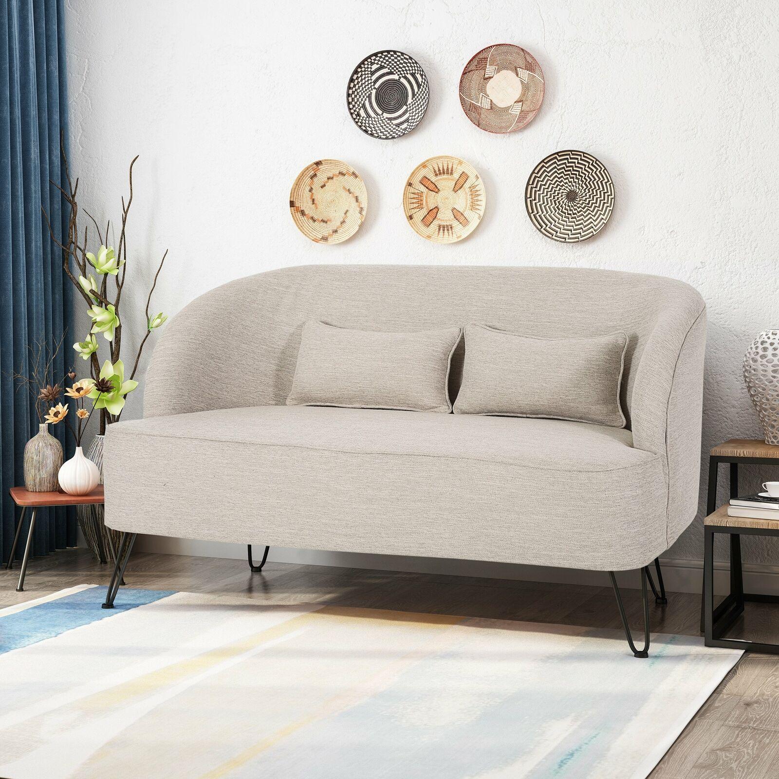 Jordan Modern Fabric Loveseat with Hairpin Legs Furniture
