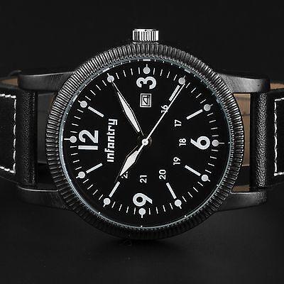 INFANTRY Men's Quartz Wrist Watch Lume Analog Date Black Military Sport Leather
