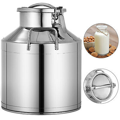 10l 2.64 Gallon Stainless Steel Milk Can Wine Pail Bucket Tote Jug In One Piece
