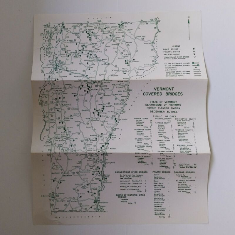 Vermont map of covered bridges 1966 Highway Department vintage