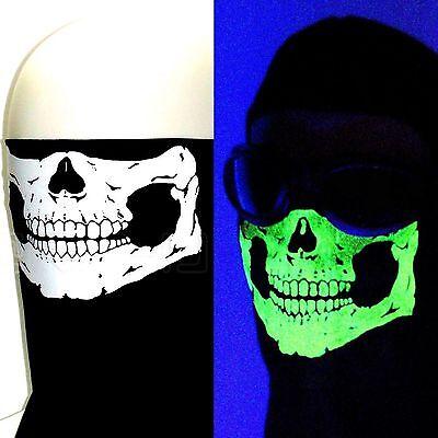 BLACK GLOW IN THE DARK SKULL HALF FACE NECK WIND SKI MASK SCARF BIKER BANDANA OS