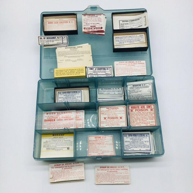Vintage Paper Pharmacy Bottle Drug Store Labels Apothecary Lot Bundle